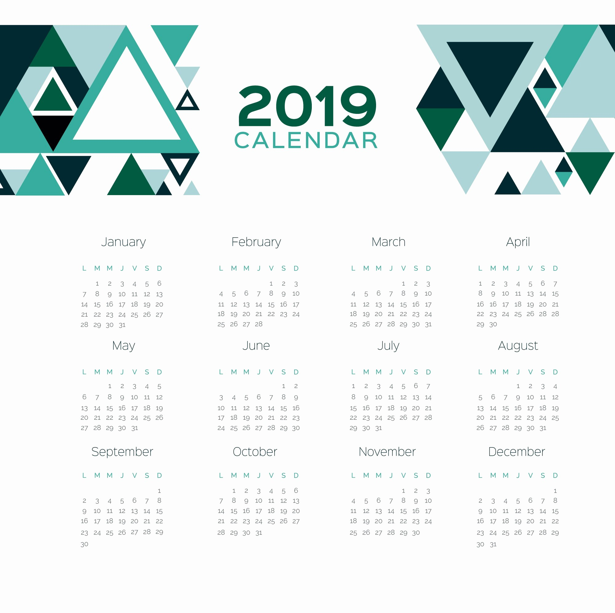 2019 Yearly Calendar One Page Fresh Printable 2019 E Page Calendar