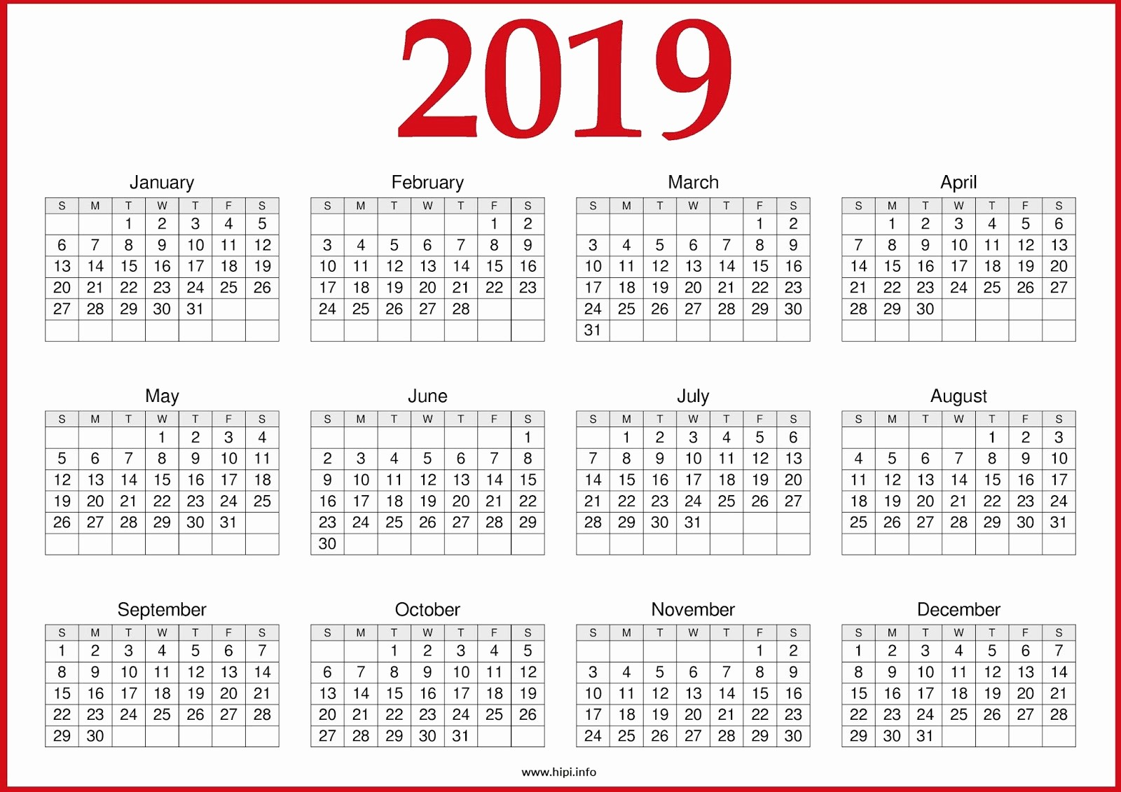 2019 Yearly Calendar One Page Inspirational 2019 Year to Page Calendar Swifte