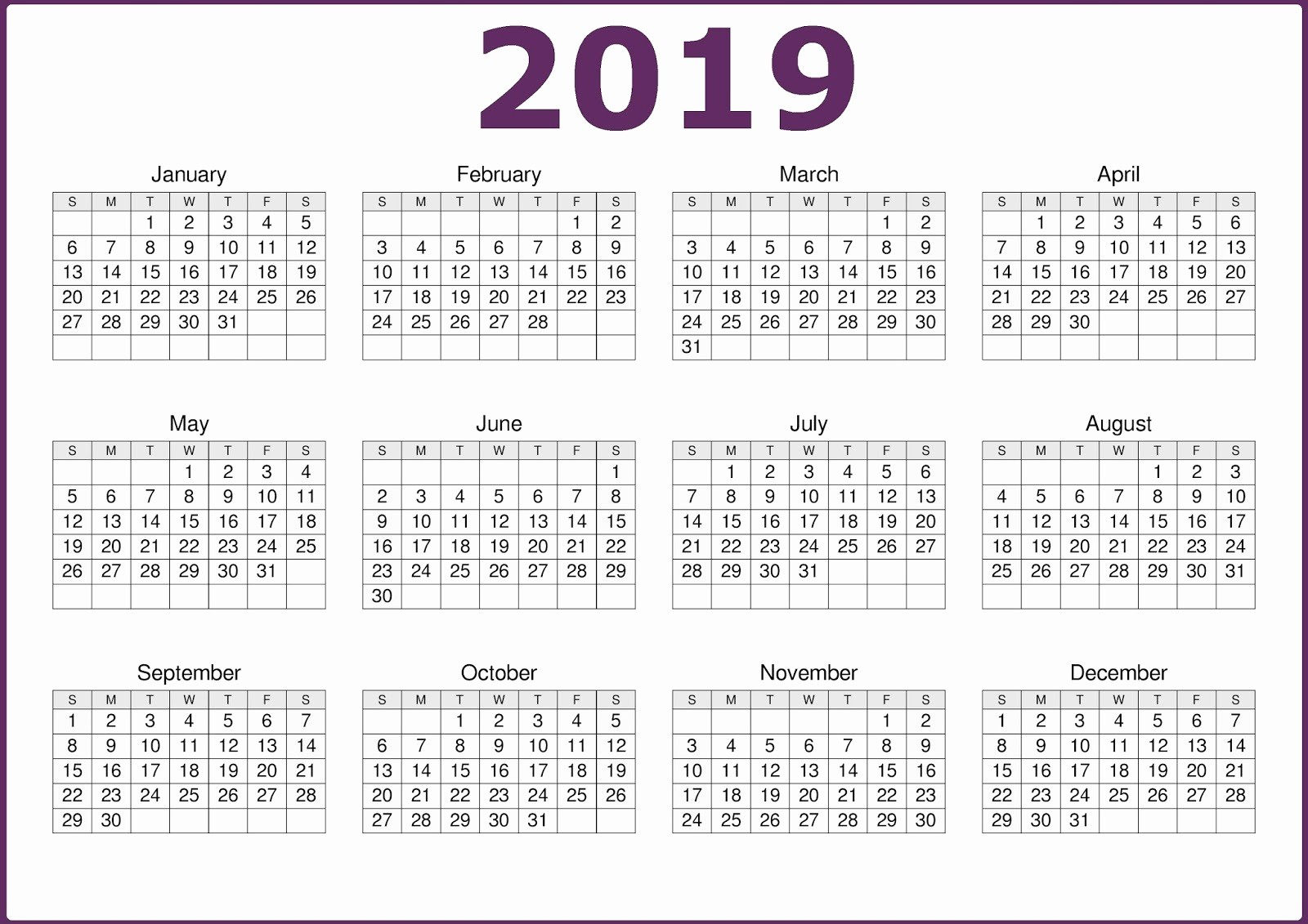 2019 Yearly Calendar One Page Inspirational E Page 2019 Printable Calendar Free Download