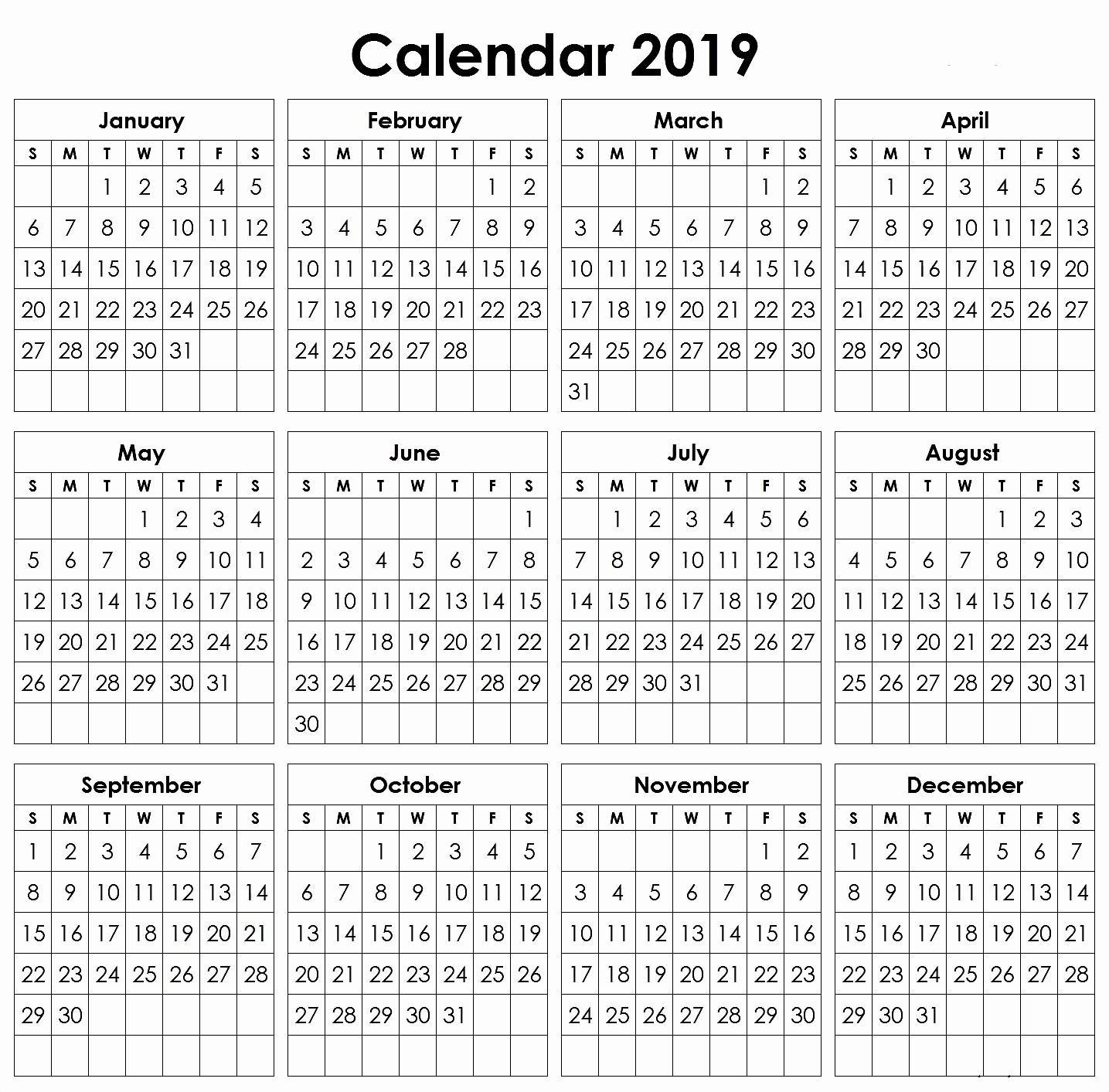 2019 Yearly Calendar One Page Lovely Yearly Calendar 2019 A4 Printable