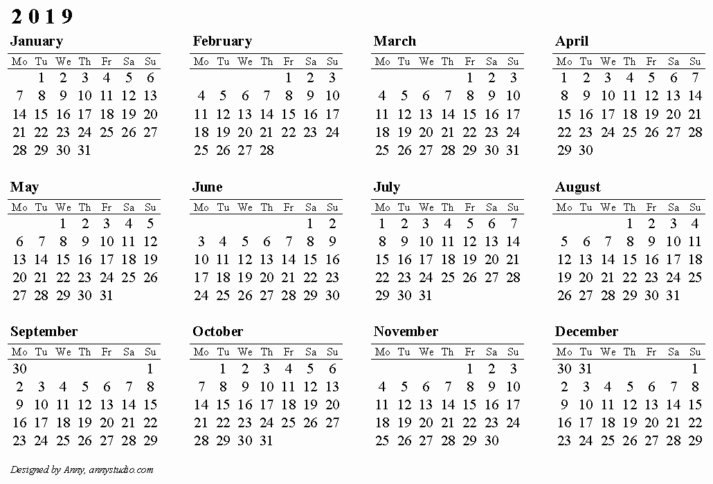 2019 Yearly Calendar One Page New 2019 Calendar E Page