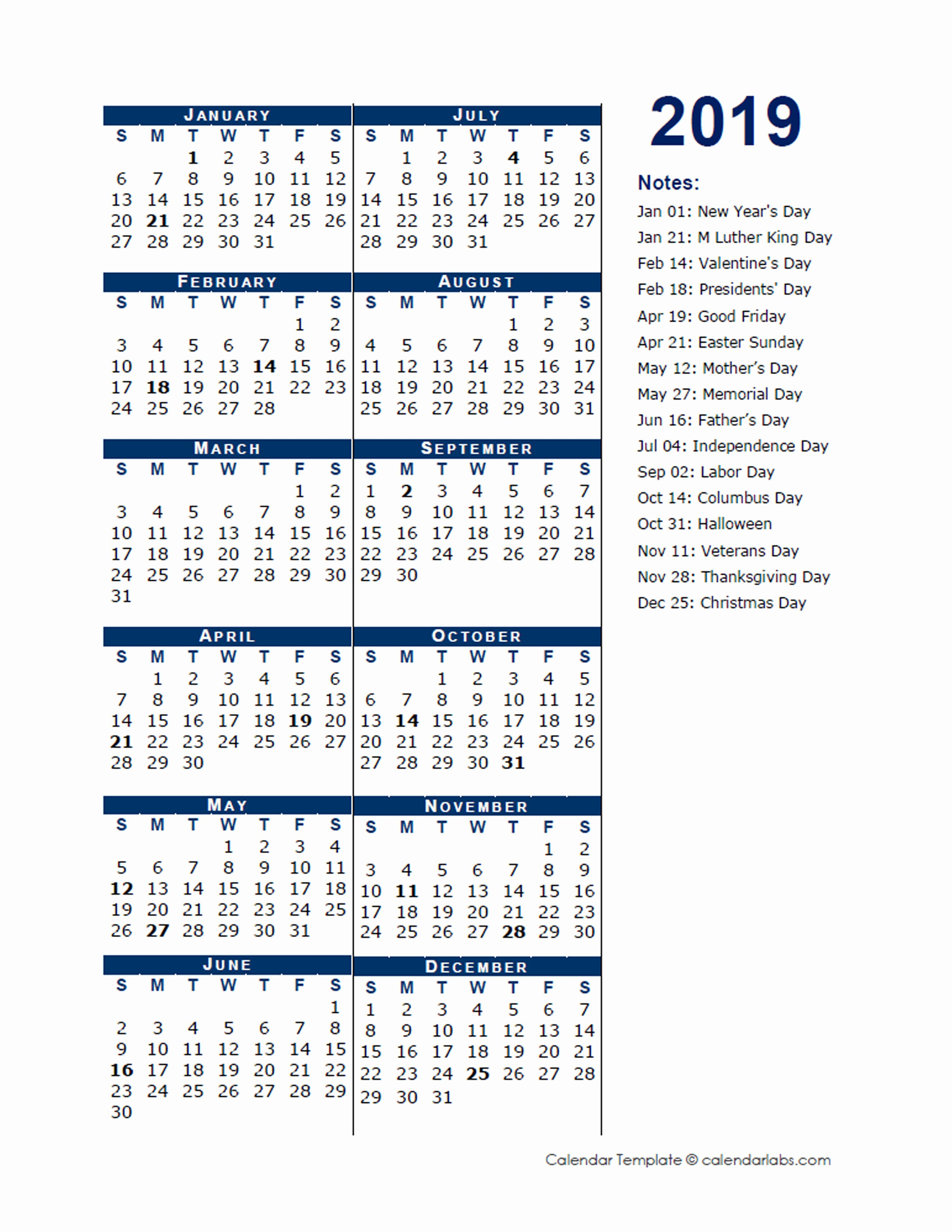 2019 Yearly Calendar One Page New 2019 Full Year Calendar Template Half Page Free
