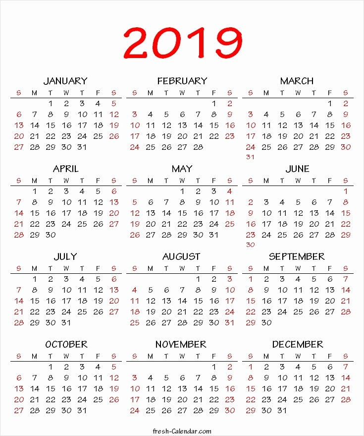 2019 Yearly Calendar One Page New E Year Calendar 2019 Printable Swifte