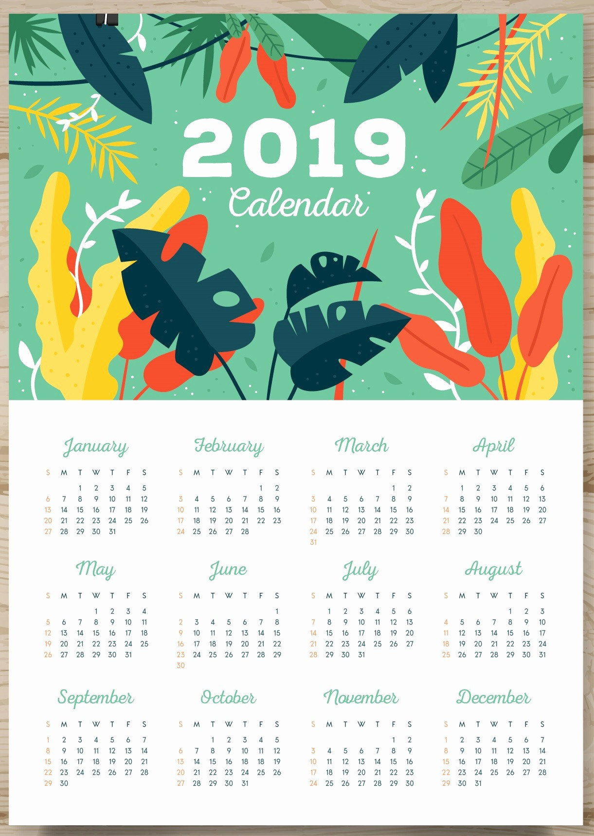 2019 Yearly Calendar One Page Unique Printable 2019 E Page Calendar