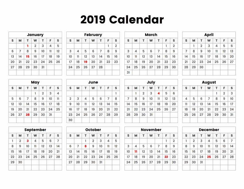 2019 Yearly Calendar One Page Unique Year 2019 Calendar with Holidays Swifte