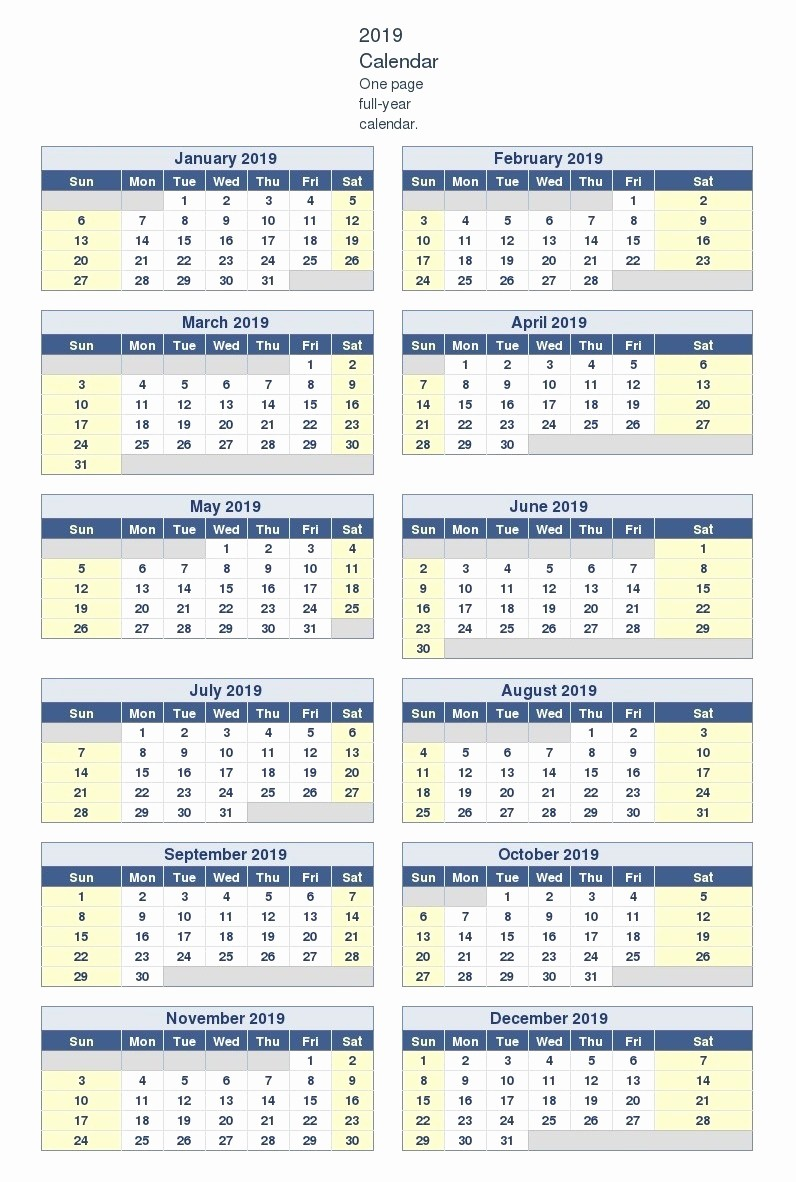 2019 Yearly Calendar One Page Unique Yearly Calendar 2019 Template E Page
