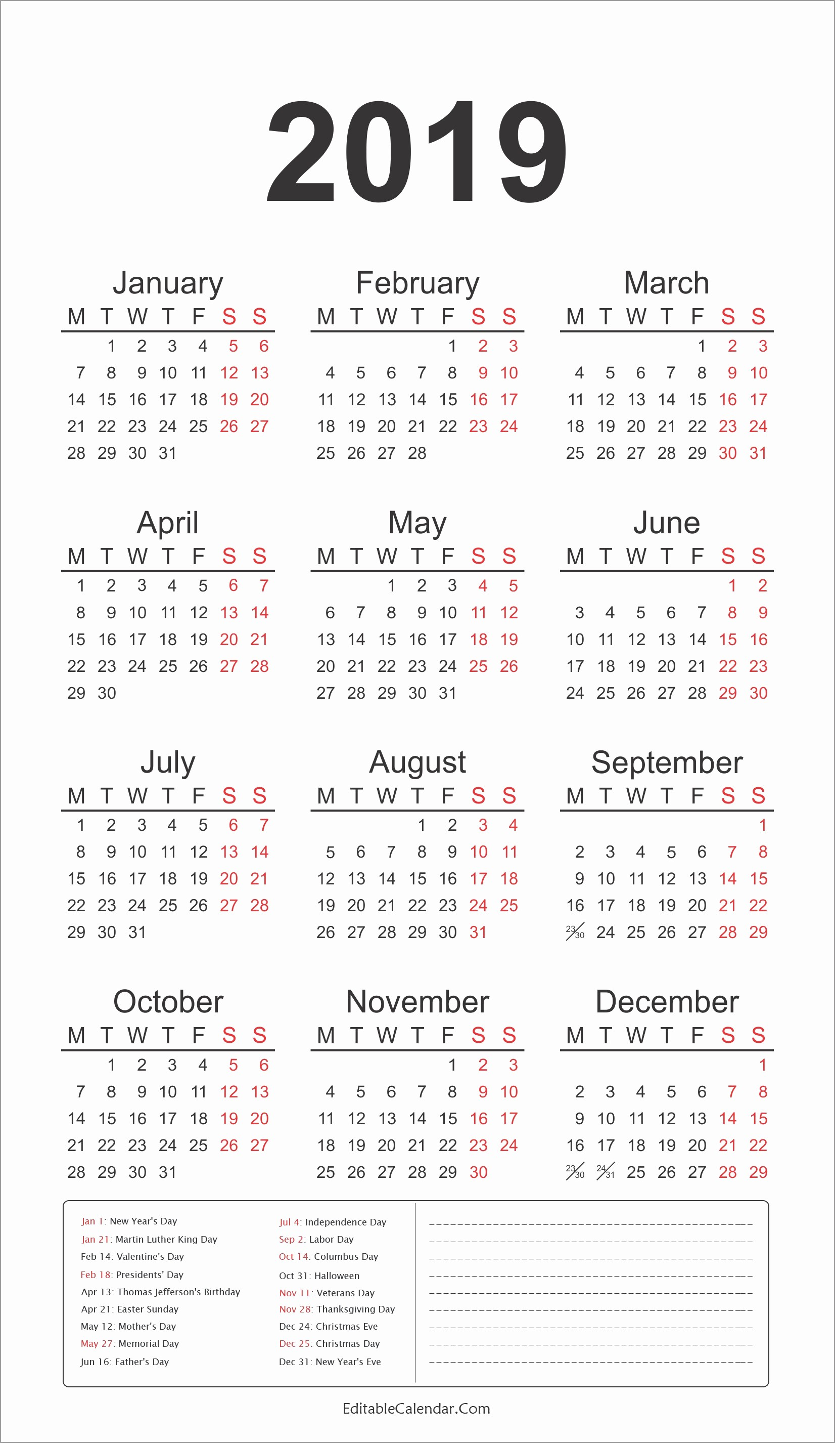2019 Yearly Calendar with Holidays Awesome 2019 Calendar with Federal Holidays Printable 2019