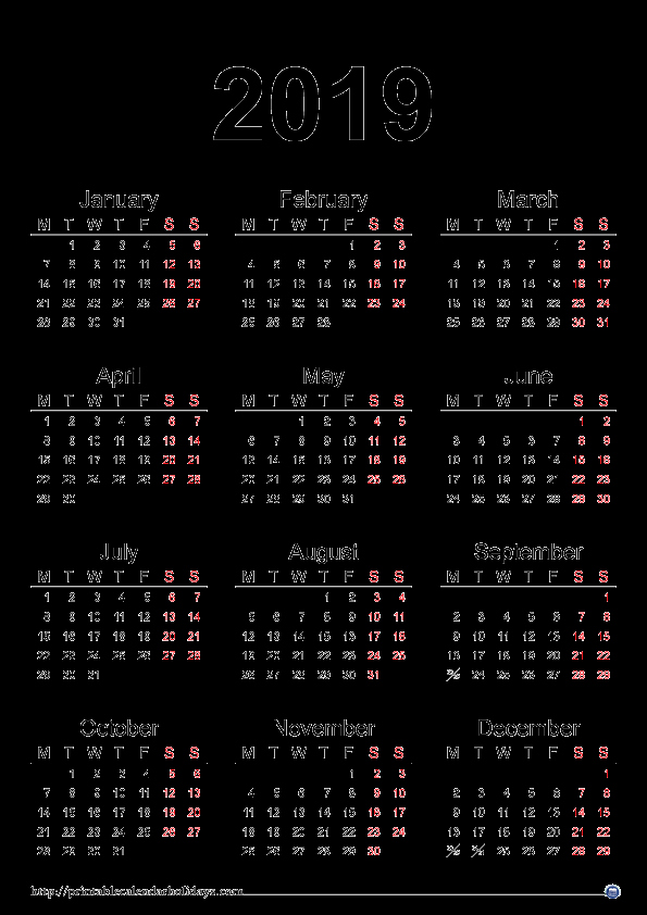 2019 Yearly Calendar with Holidays Awesome 2019 Yearly Calendar Printable Printable 2017 2018 2019