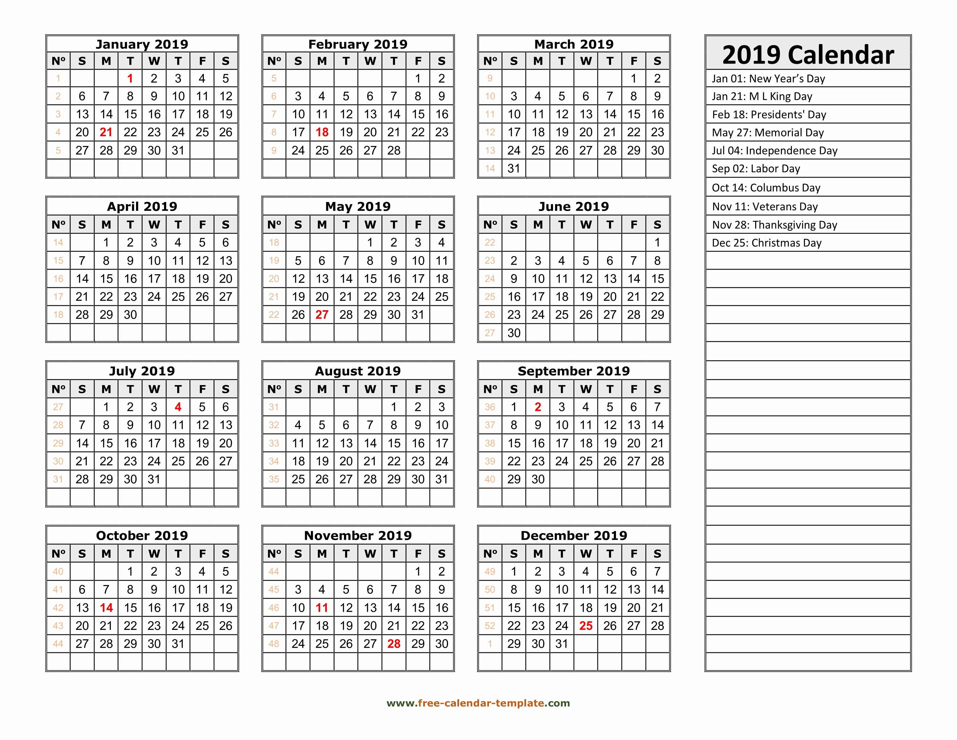 2019 Yearly Calendar with Holidays Awesome 2019 Yearly Calendar Printable with Week Numbers