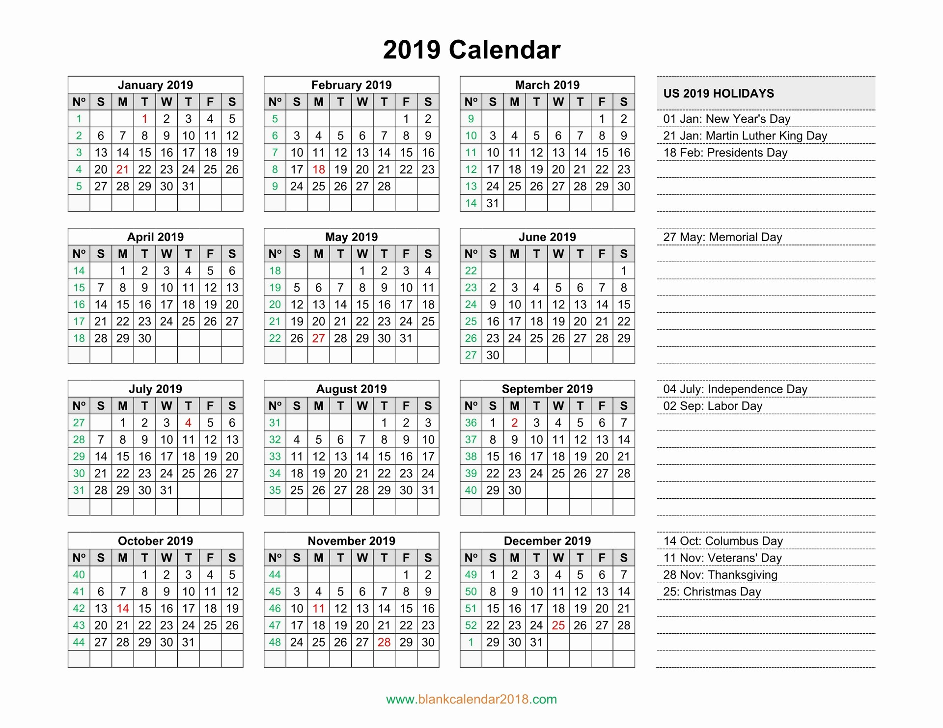 2019 Yearly Calendar with Holidays Awesome Blank Calendar 2019