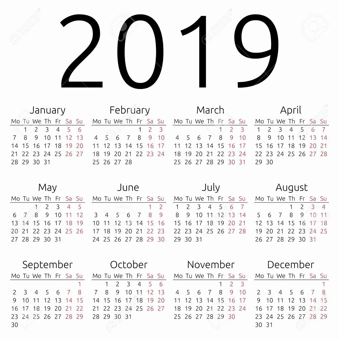 2019 Yearly Calendar with Holidays Awesome Yearly Calendar 2019