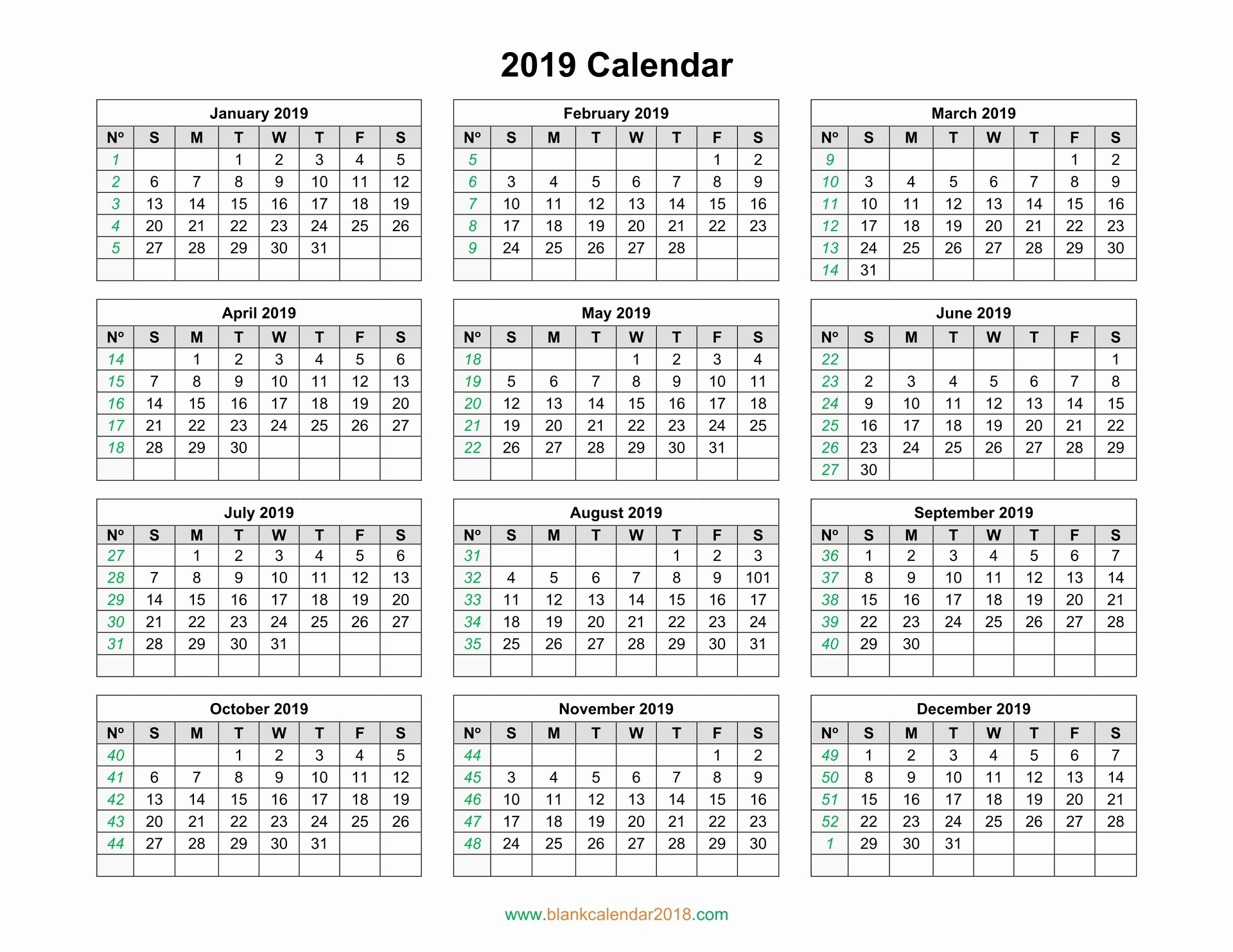 2019 Yearly Calendar with Holidays Best Of Blank Calendar 2019