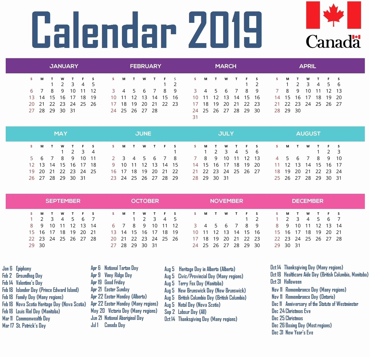 2019 Yearly Calendar with Holidays Best Of Canada 2019 Printable Calendar Download