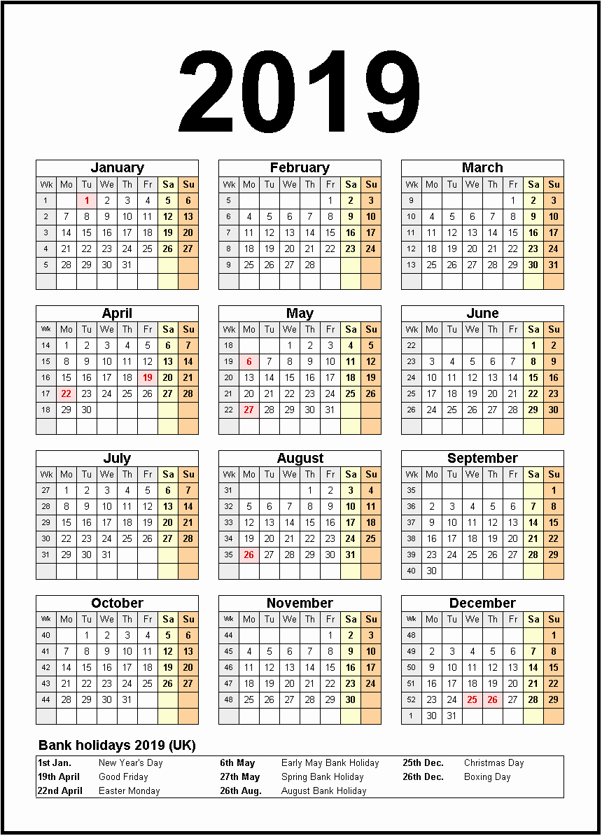 2019 Yearly Calendar with Holidays Best Of Printable Calendar 2019 United States