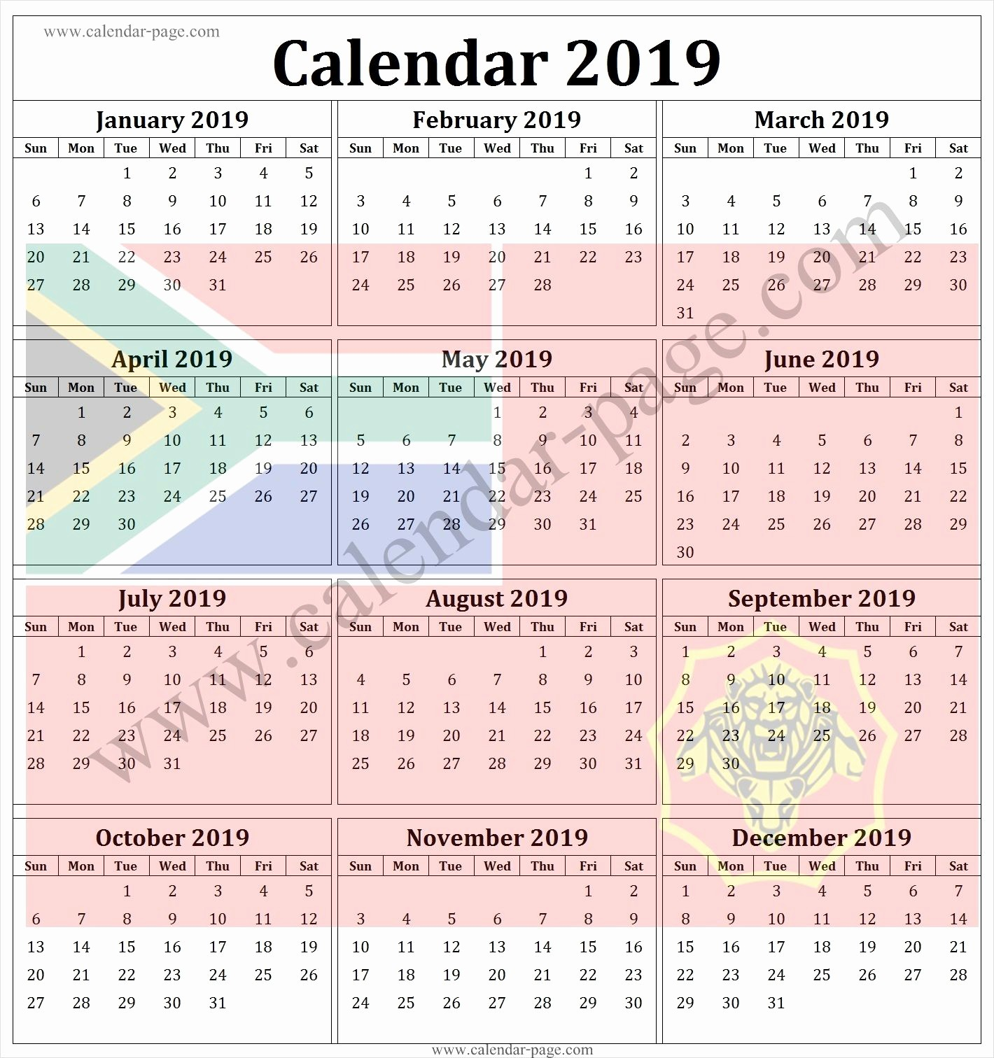 2019 Yearly Calendar with Holidays Best Of south Africa 2019 Calendar with Public Holidays