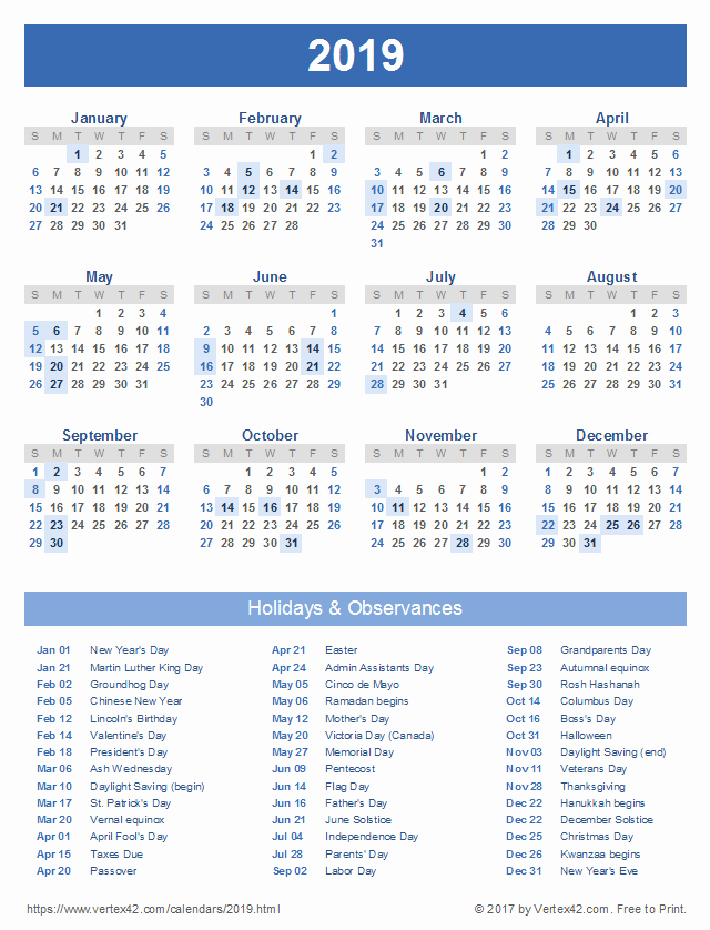 2019 Yearly Calendar with Holidays Elegant Download A Free Printable 2019 Calendar with Holidays From