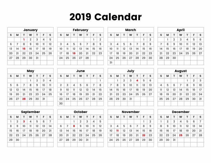 2019 Yearly Calendar with Holidays Elegant Year 2019 Holidays Calendar Swifte