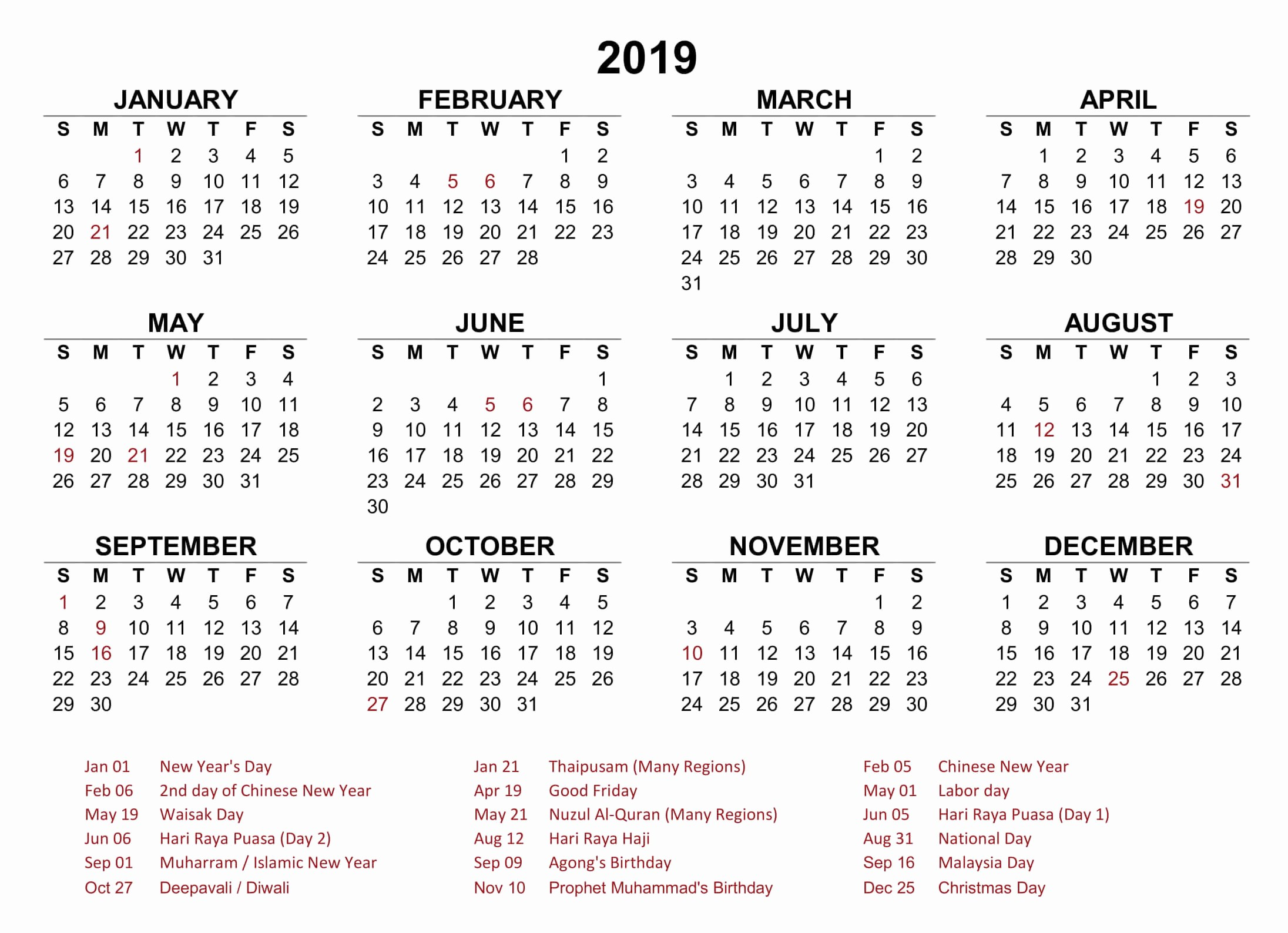2019 Yearly Calendar with Holidays Fresh 12 Month Yearly Calendar 2019 Archives 2018 Printable