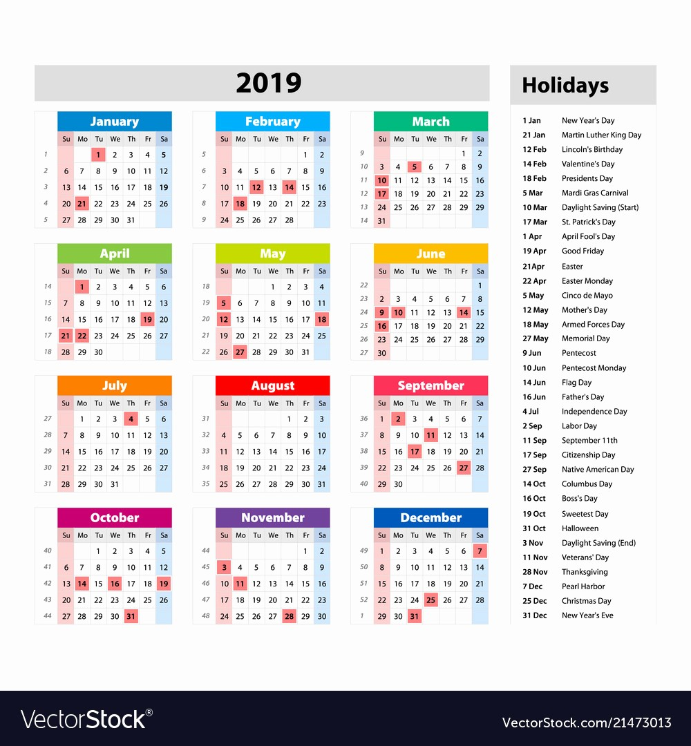 2019 Yearly Calendar with Holidays Fresh 2019 Calendar with Holidays Usa Free Download Freemium