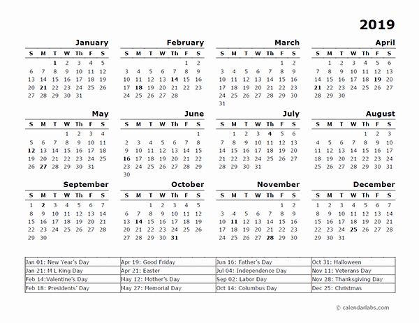 2019 Yearly Calendar with Holidays Fresh 2019 Year Calendar Template with Us Holidays Free