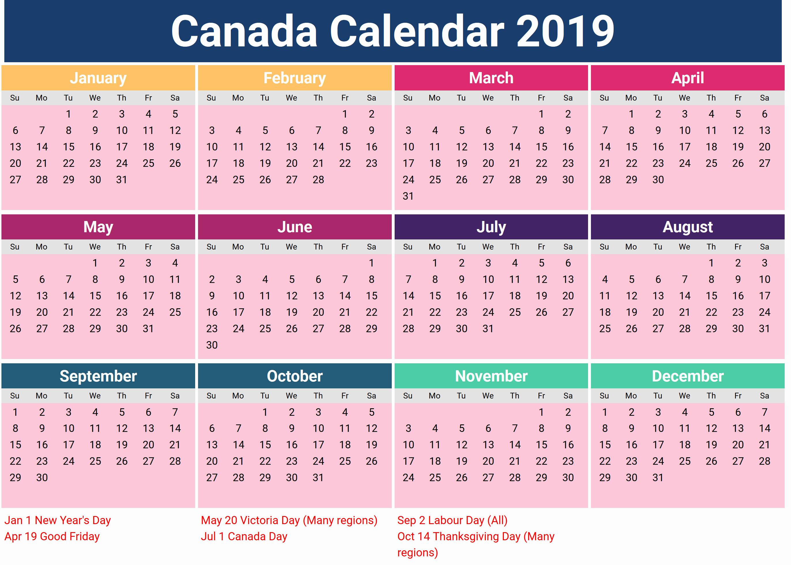 2019 Yearly Calendar with Holidays Fresh Canada Holidays 2019 Calendar Download