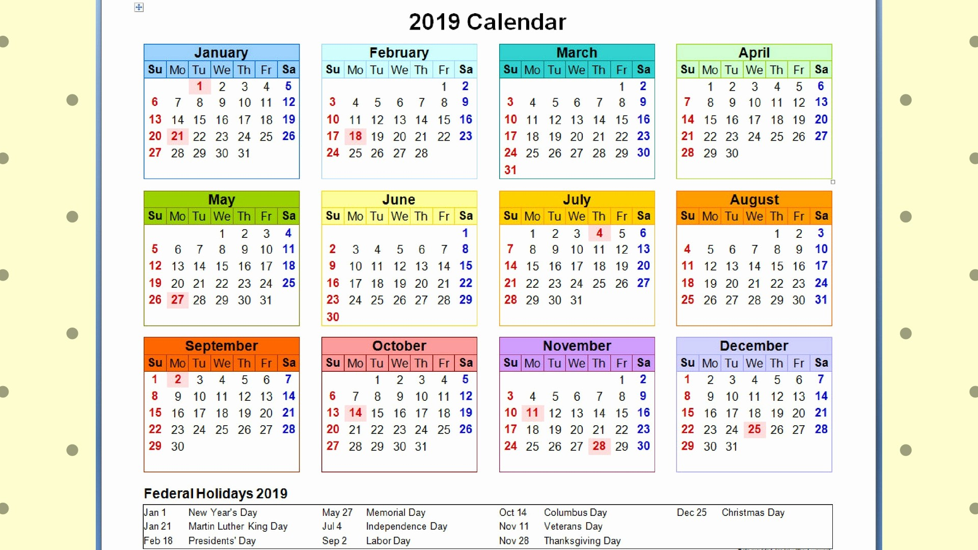 2019 Yearly Calendar with Holidays Fresh Sa Calendar 2019 with Free Printable Yearly Template Sa