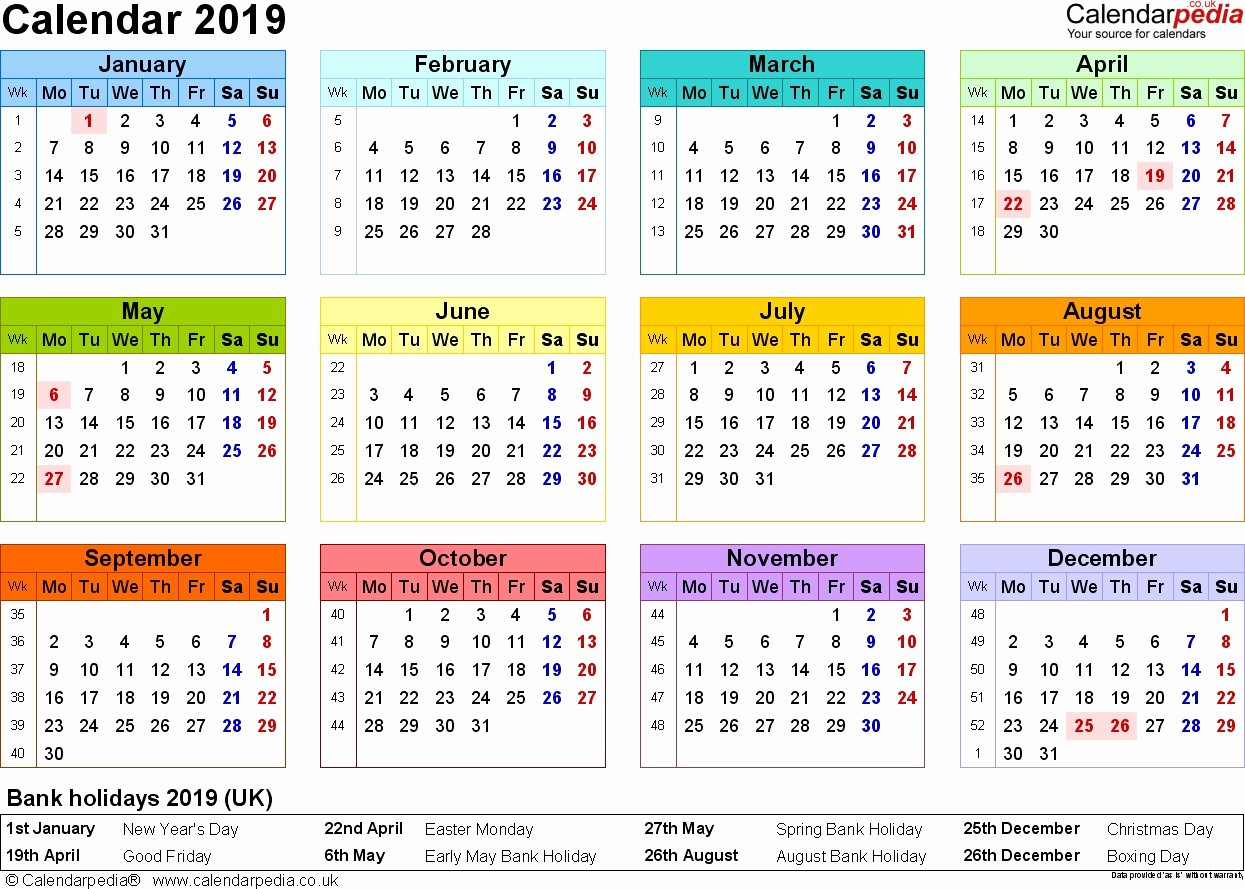 2019 Yearly Calendar with Holidays Fresh Yearly Bank Holidays Calendar 2019 In Uk Template
