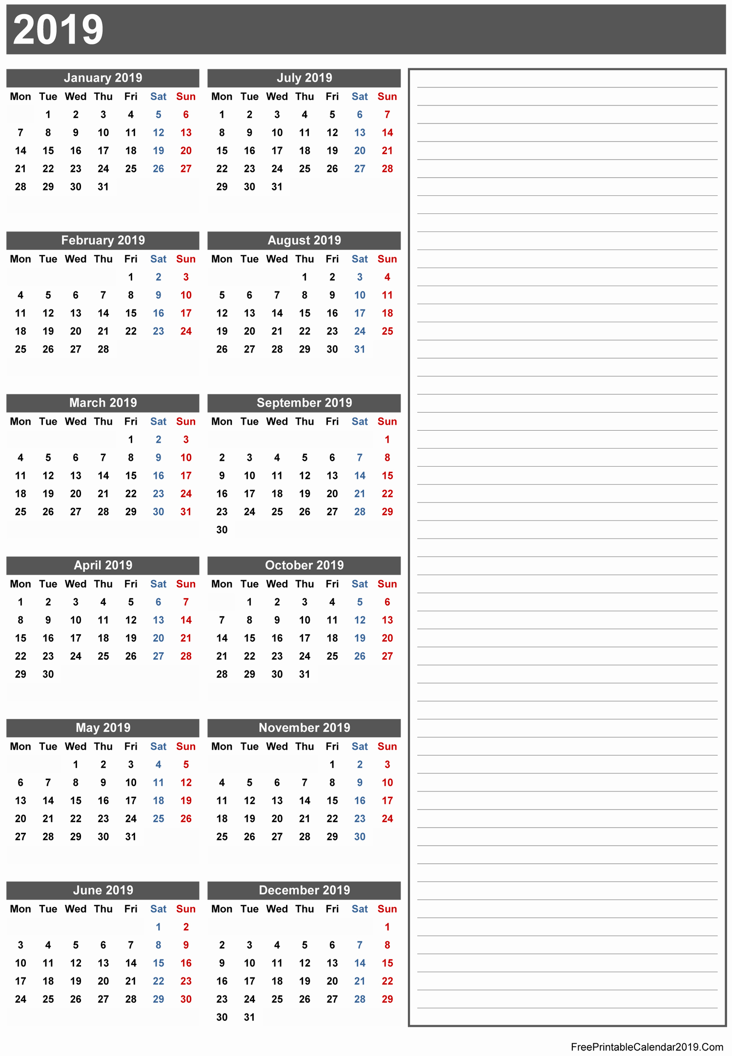 2019 Yearly Calendar with Holidays Inspirational Free Printable Calendar 2019 with Holidays In Word Excel Pdf