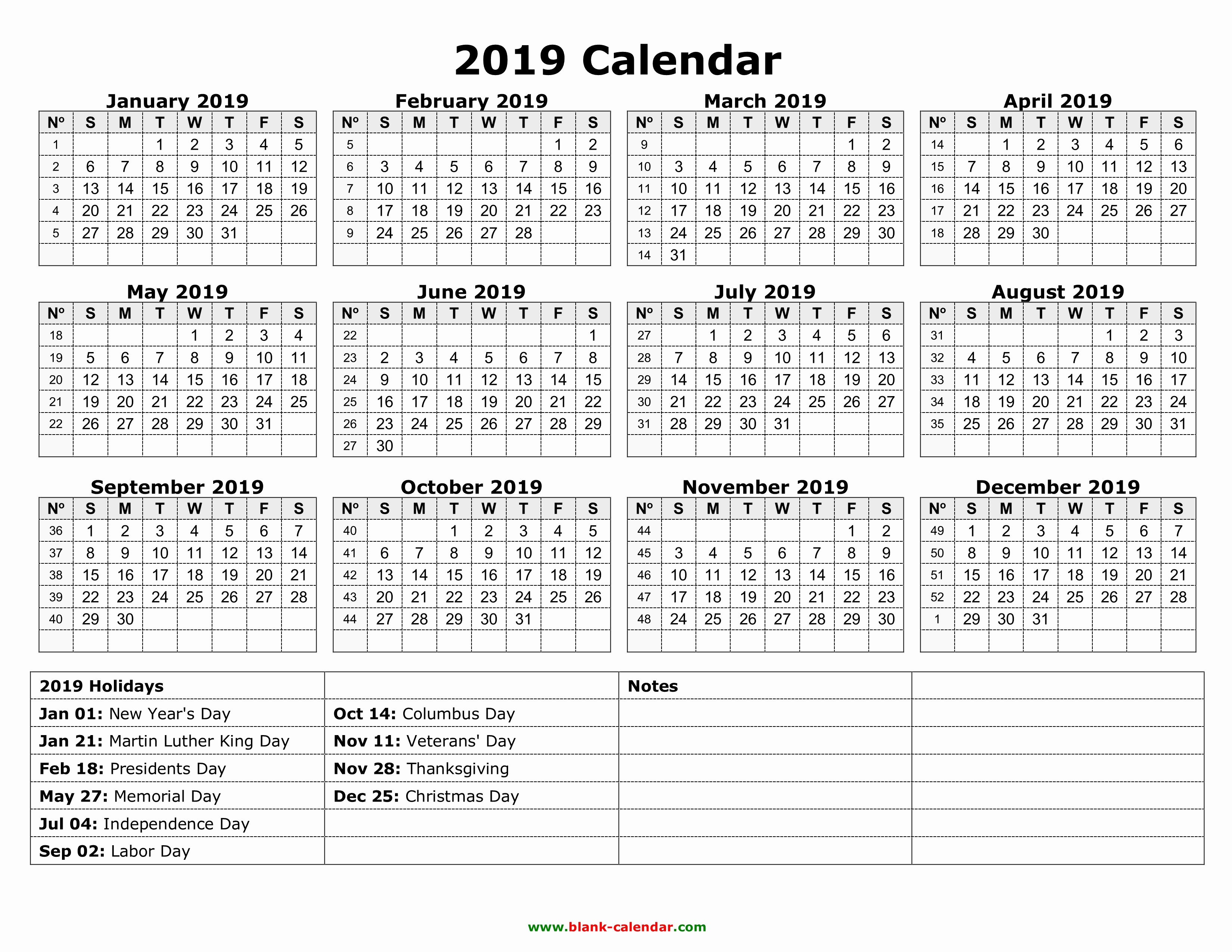 2019 Yearly Calendar with Holidays Inspirational Yearly Calendar 2019