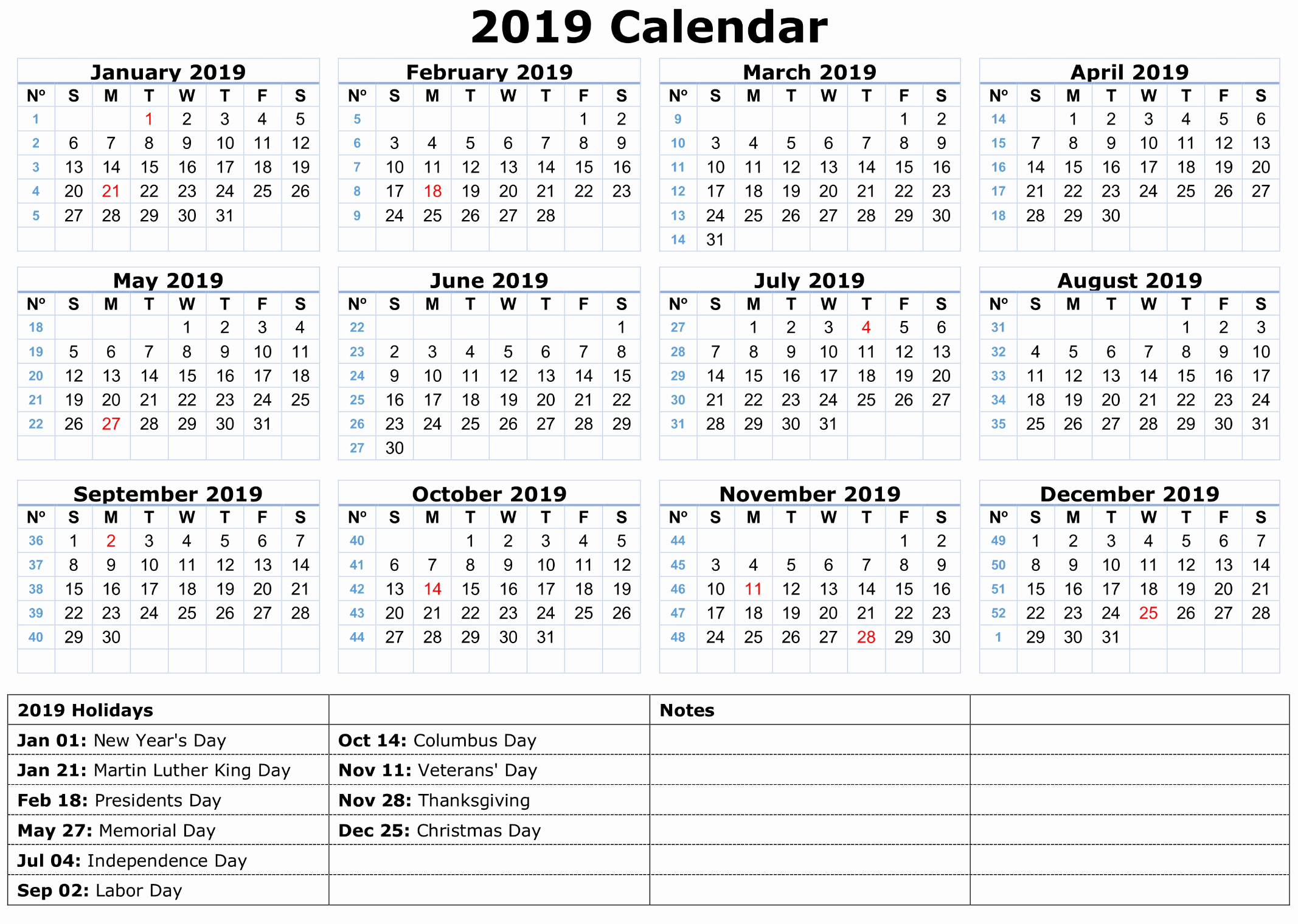 2019 Yearly Calendar with Holidays Lovely 2019 Calendar Amazonaws