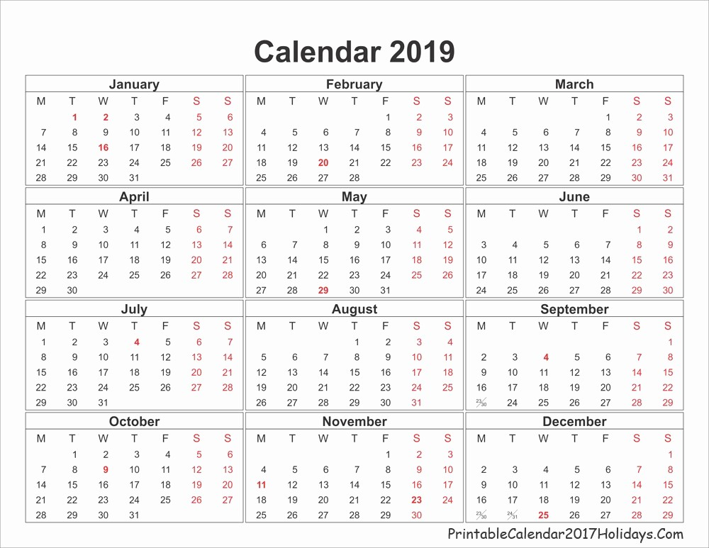 2019 Yearly Calendar with Holidays Lovely 2019 Calendar Holidays Printable 29 2019 Yearly