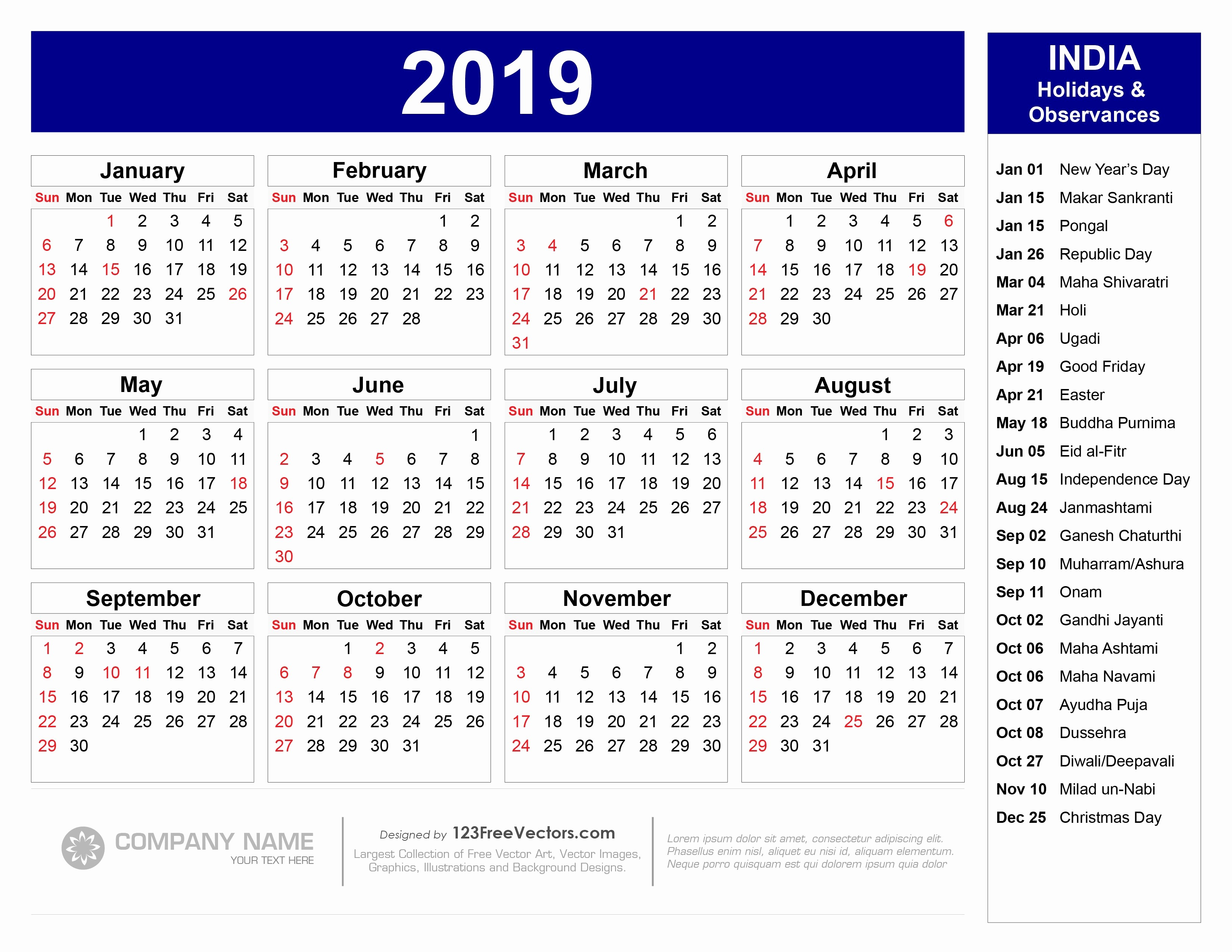2019 Yearly Calendar with Holidays Luxury 2019 Calendar with Indian Holidays Pdf