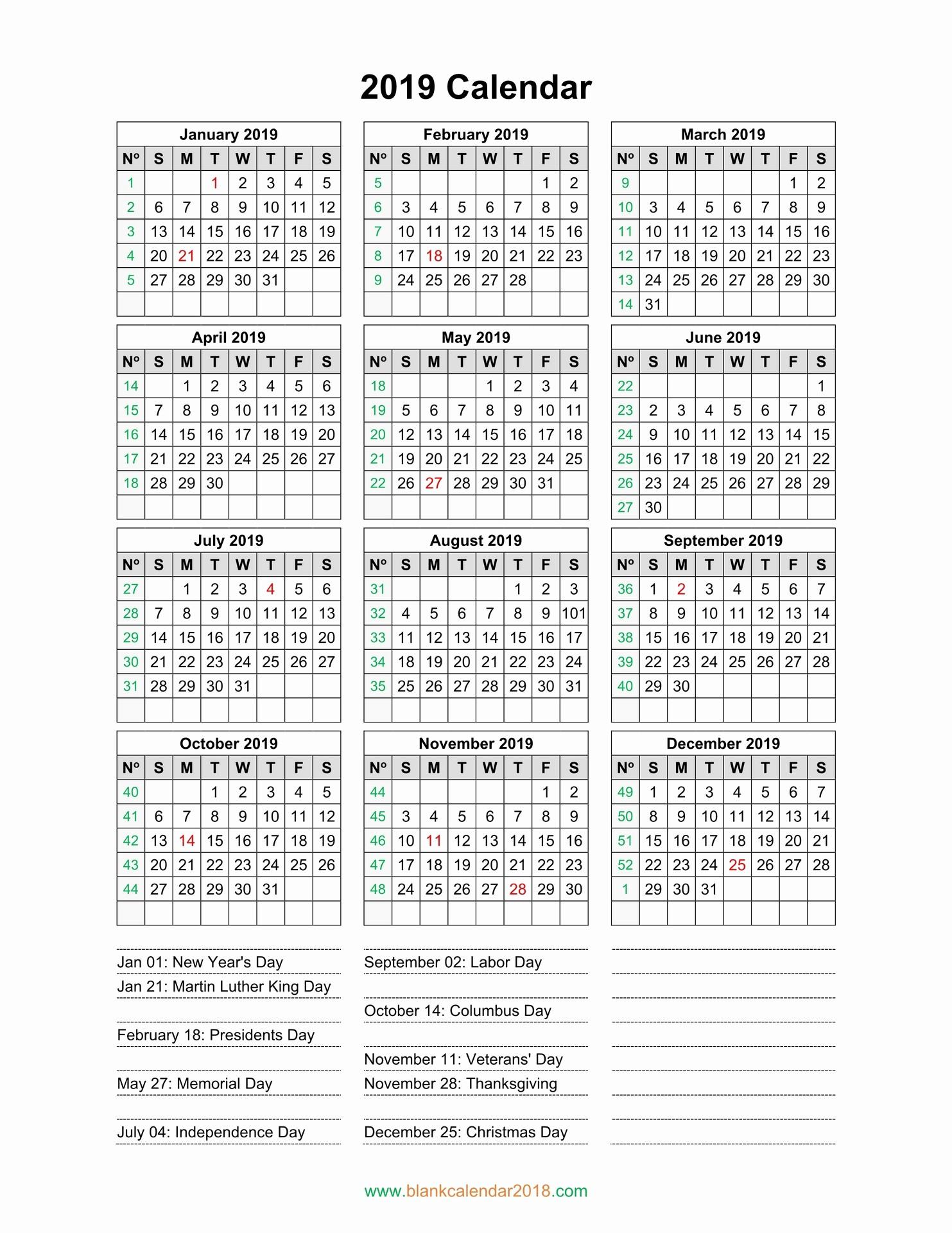 2019 Yearly Calendar with Holidays Luxury Blank Calendar 2019