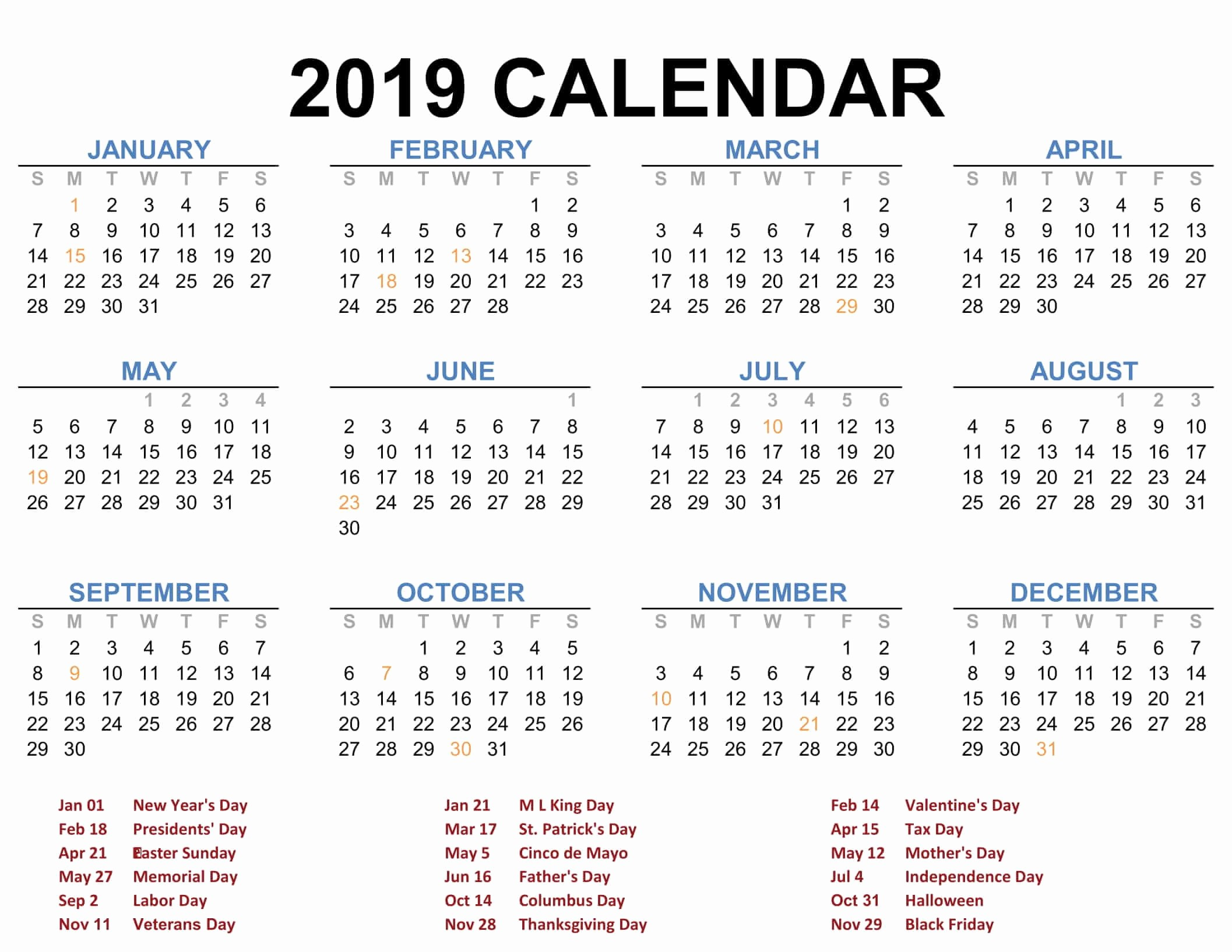 2019 Yearly Calendar with Holidays Luxury Calendar 2019 Blank Printable