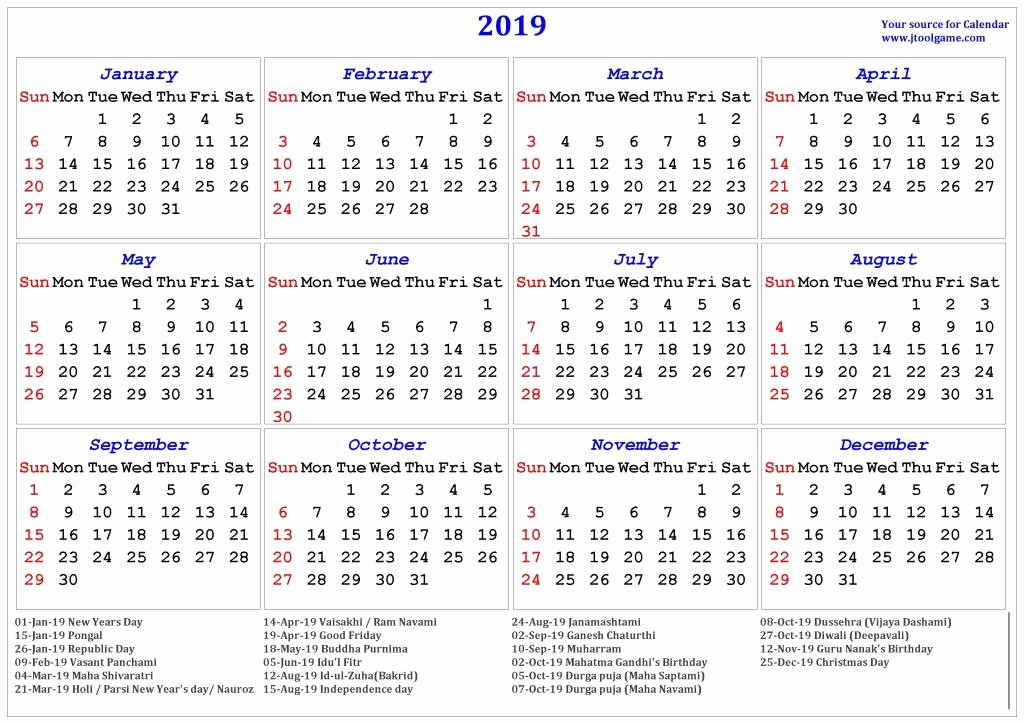 2019 Yearly Calendar with Holidays Luxury Free Printable Calendar Templates 2019 with Indian Holiday