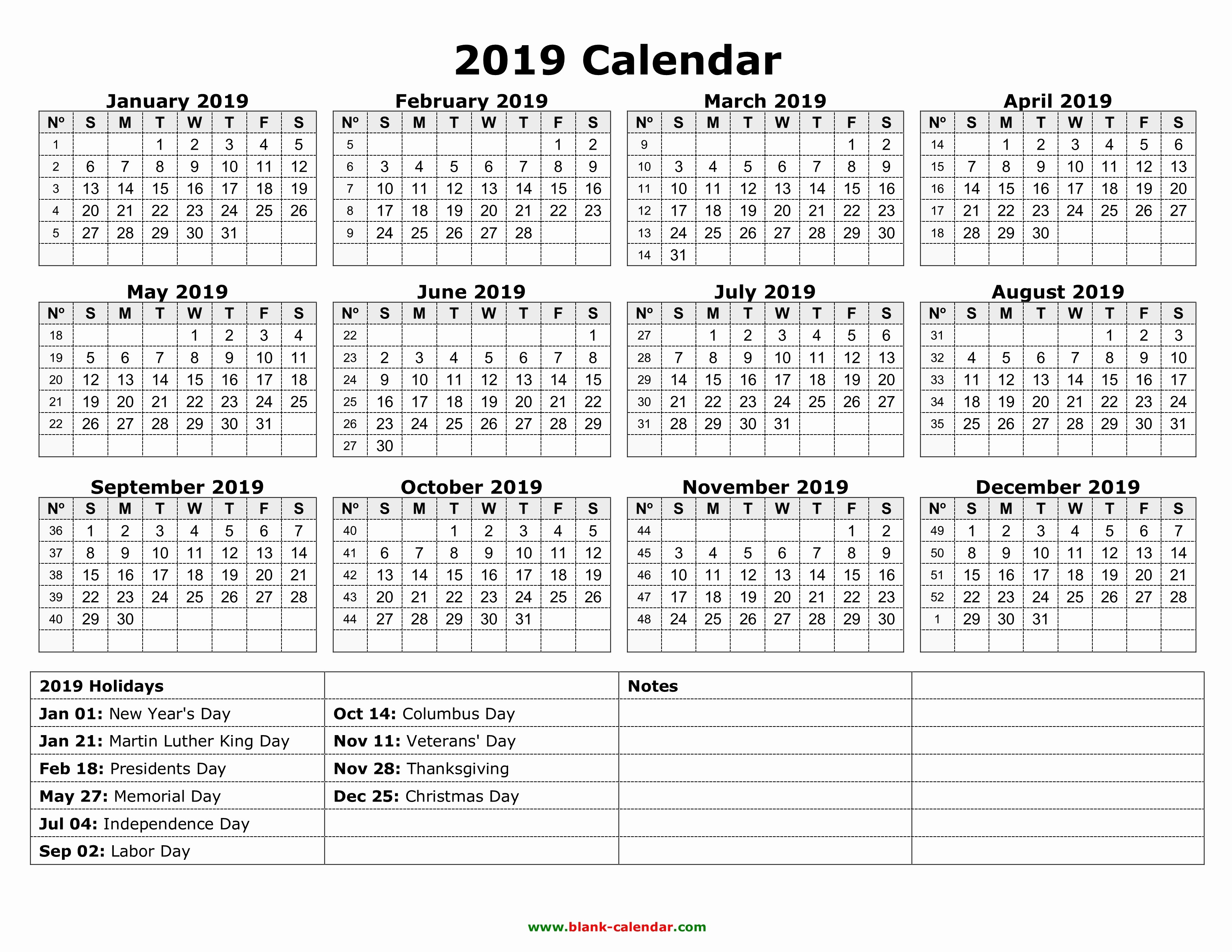 2019 Yearly Calendar with Holidays Luxury New 2019 Calendar with Federal Holidays Printable