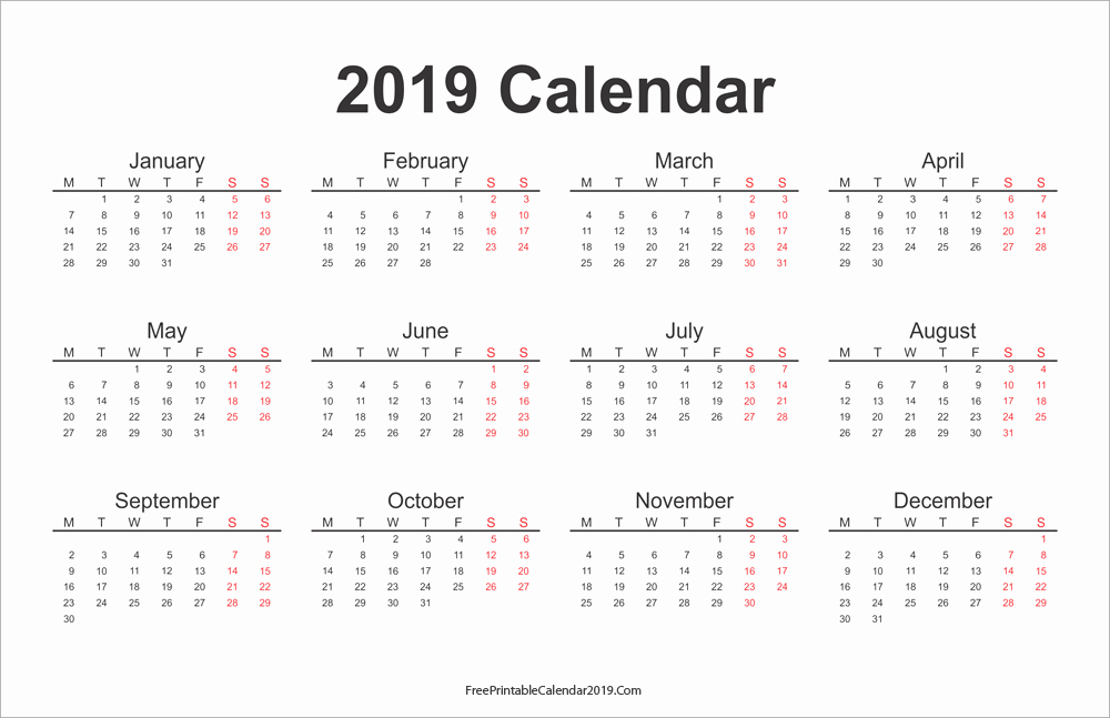 2019 Yearly Calendar with Holidays New Free Printable Calendar 2019 with Holidays In Word Excel Pdf