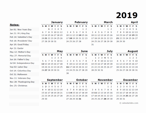 2019 Yearly Calendar with Holidays Unique 2019 Yearly Calendar Free Download Freemium Templates
