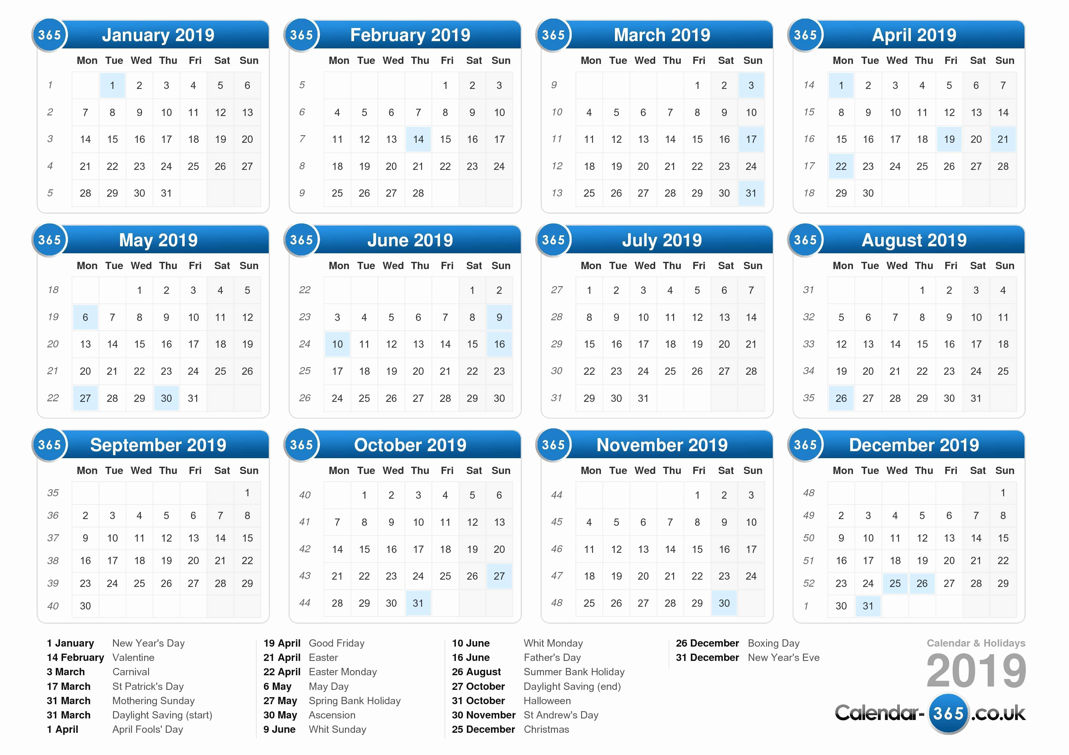 2019 Yearly Calendar with Holidays Unique Calendar 2019