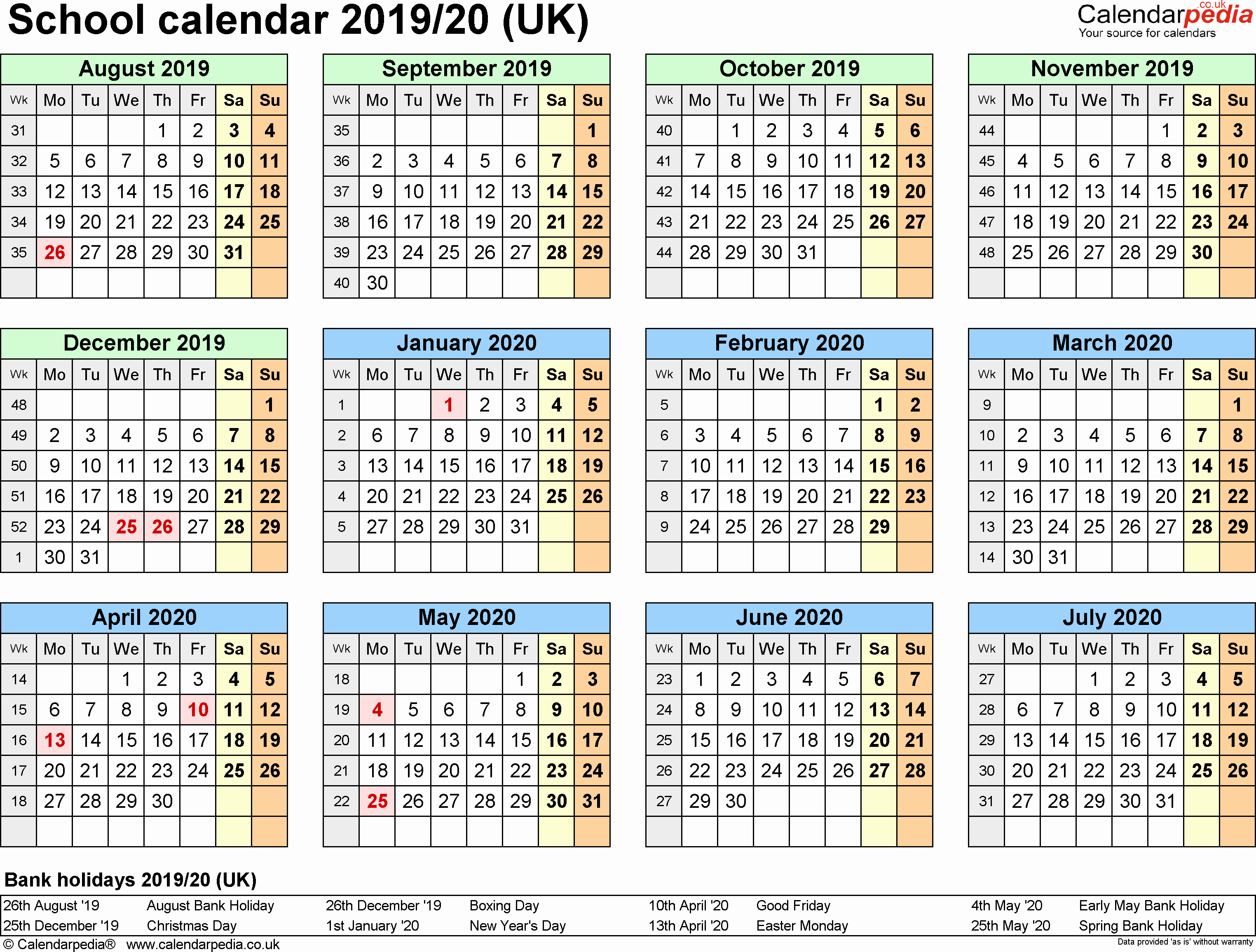 2019 Yearly Calendar with Holidays Unique December 2019 Calendar with Holidays Uk