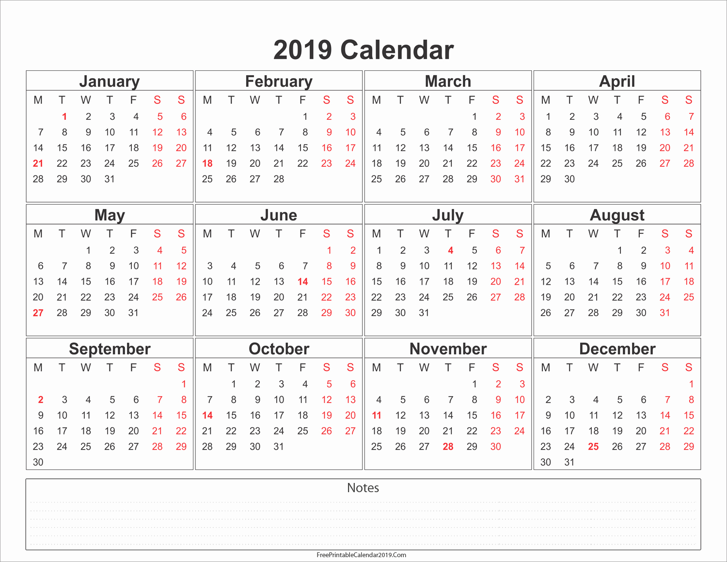 2019 Yearly Calendar with Holidays Unique Free Printable Calendar 2019 with Holidays In Word Excel Pdf