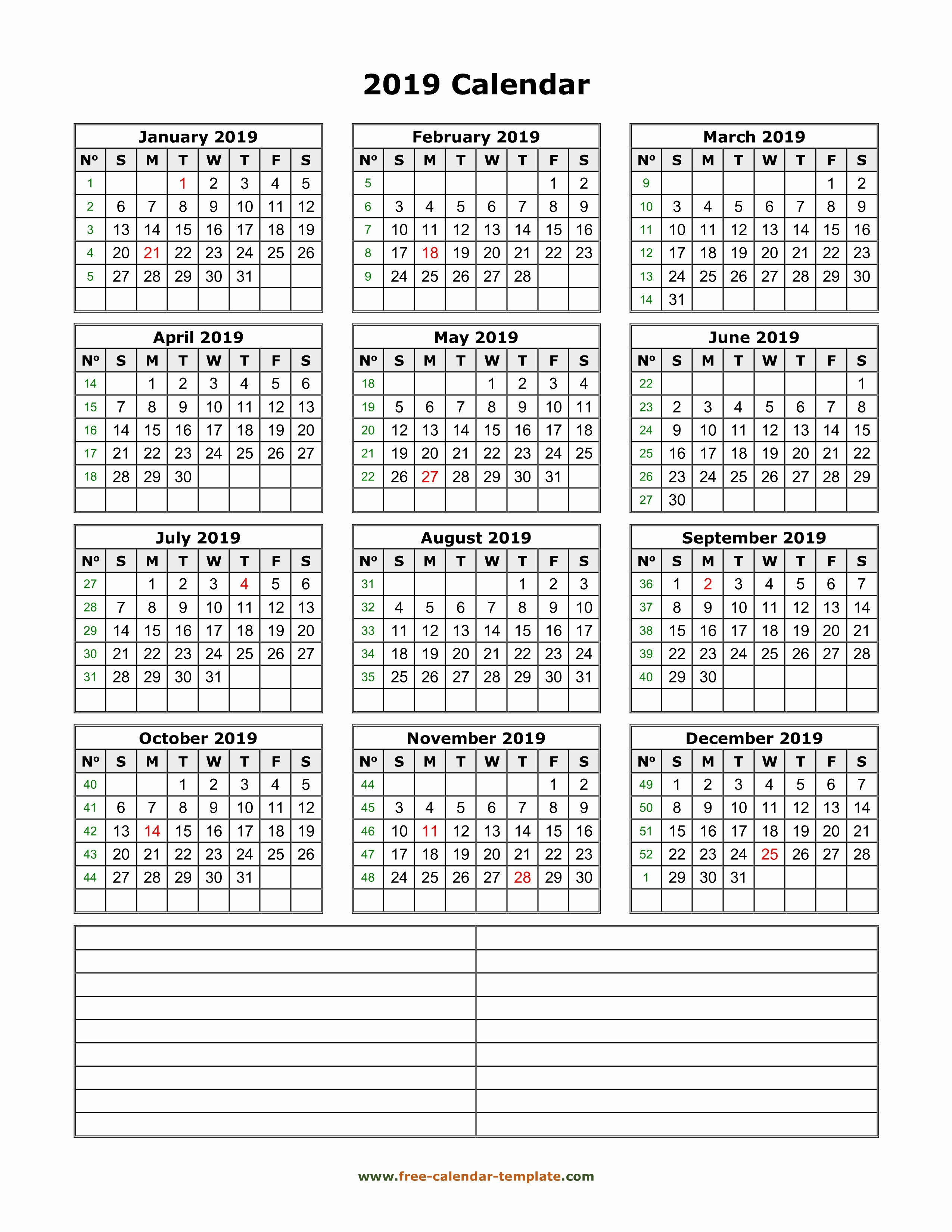 2019 Yearly Calendar with Holidays Unique Printable Yearly Calendar 2019