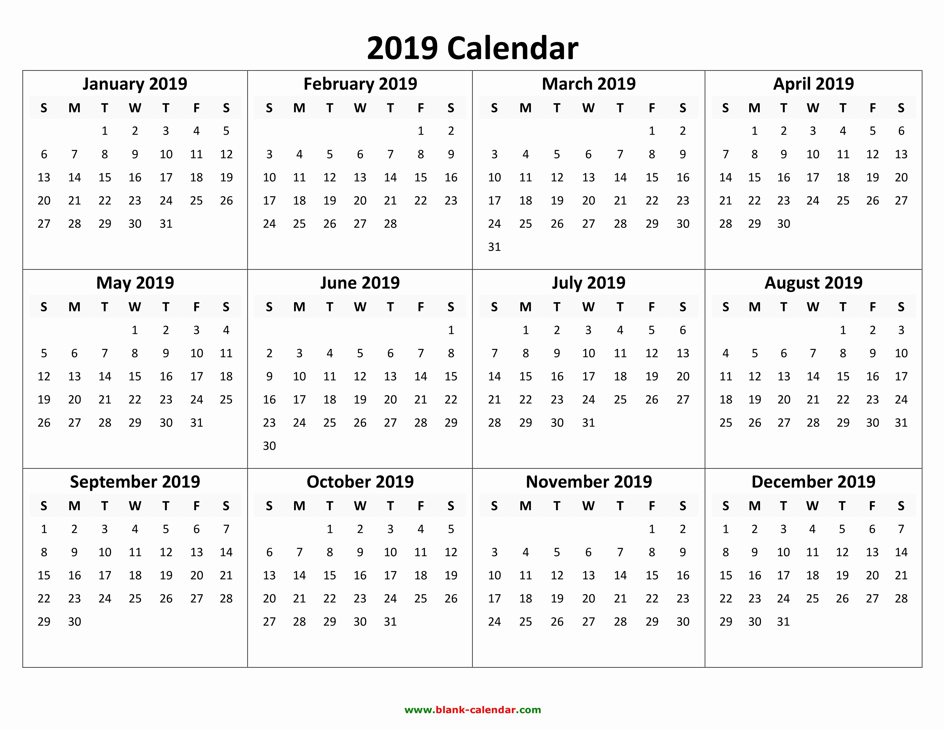2019 Yearly Calendar with Holidays Unique Yearly Calendar 2019