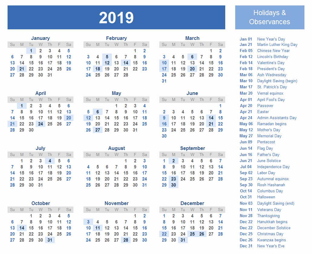 2019 Yearly Calendar with Holidays Unique Yearly Calendar 2019 Template with Indian Holidays Free