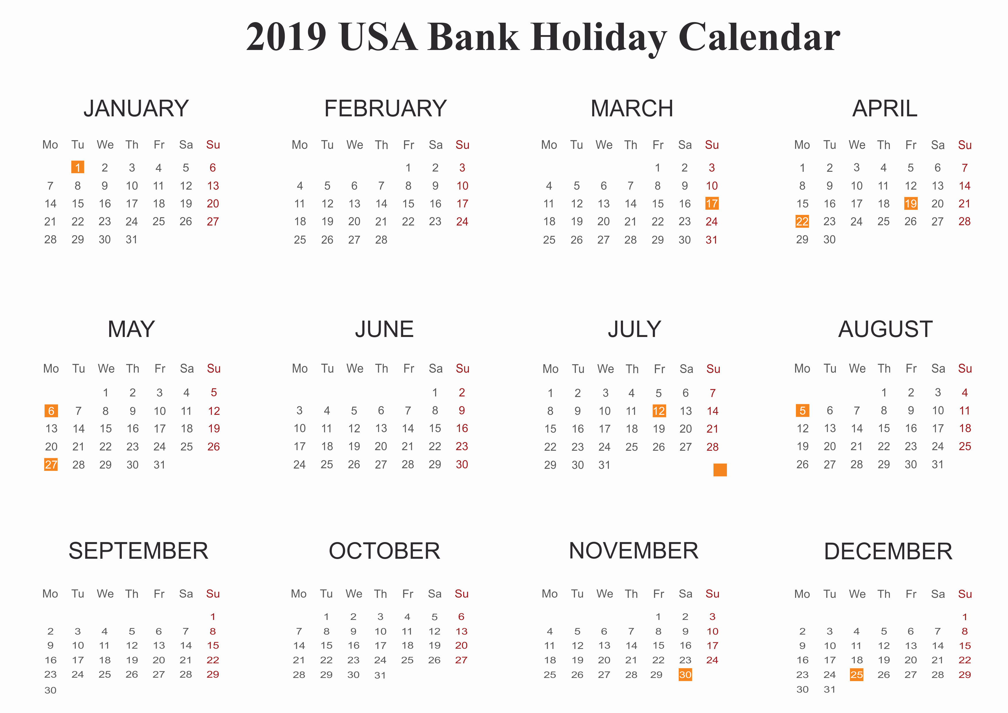 2019 Yearly Calendar with Holidays Unique Yearly Usa 2019 Holidays Calendar Printable Template 12