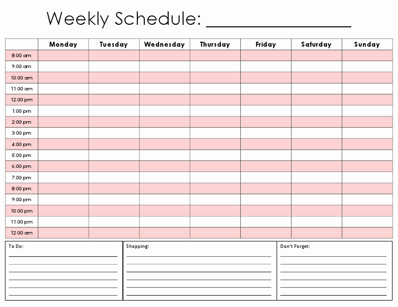 24 Hour Daily Schedule Template Awesome 8 Best Of Weekly Hourly Calendar Printable Free