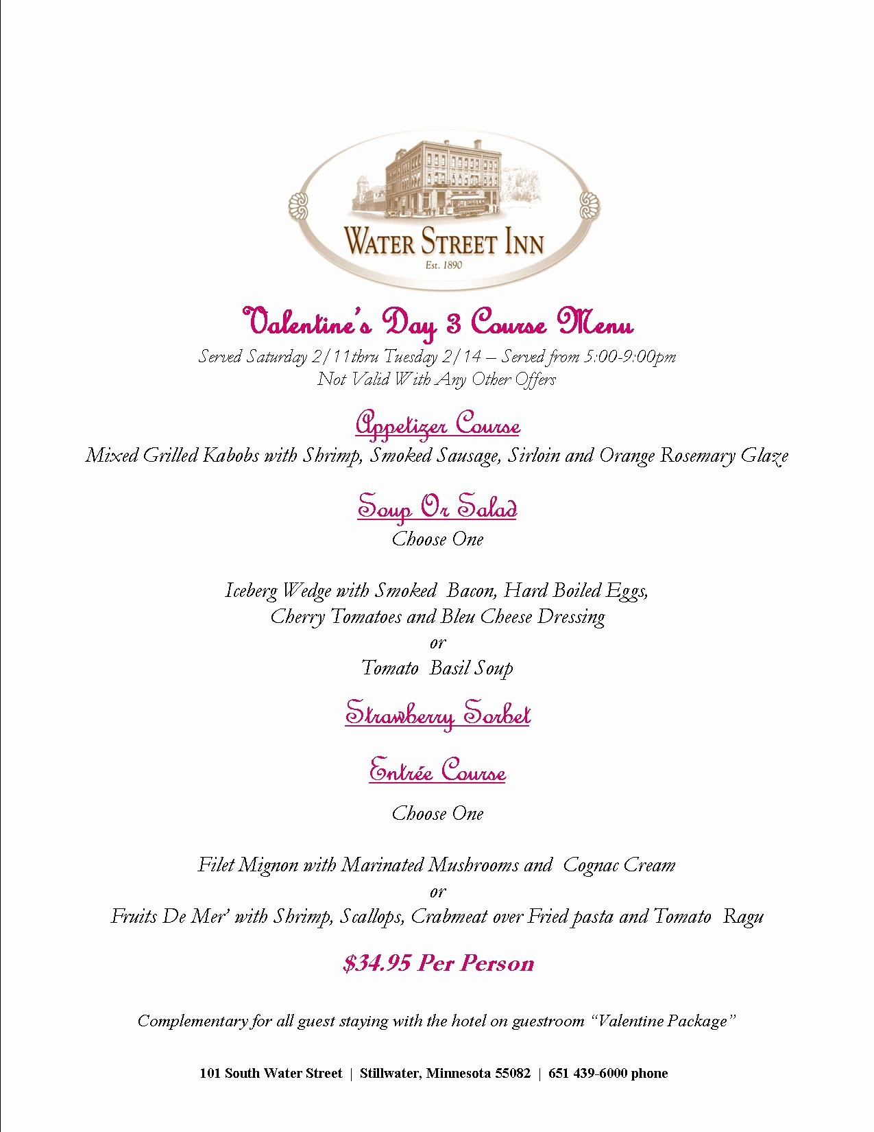 3 Course Meal Menu Templates Best Of Valentine S Day Menu In Stillwater Mn