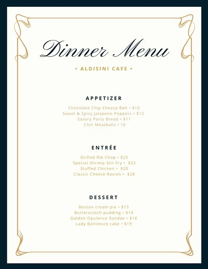 3 Course Meal Menu Templates Elegant Cream and Blue Fancy Border Dinner Menu Templates by Canva