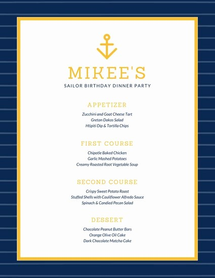3 Course Meal Menu Templates Lovely Customize 404 Dinner Party Menu Templates Online Canva