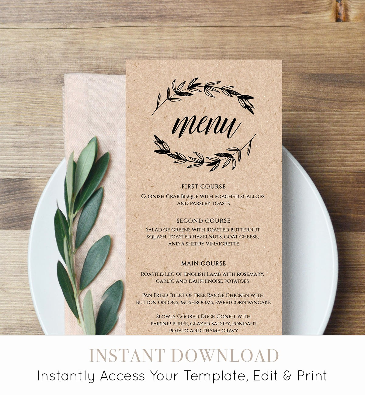 rustic wedding menu template printable